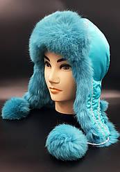 Зимняя женская шапка-ушанка Klaus Кролик на Плащевке 55-58 Мята  (014)