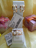Срібний набір з золотом Симфонія і перлами, фото 2