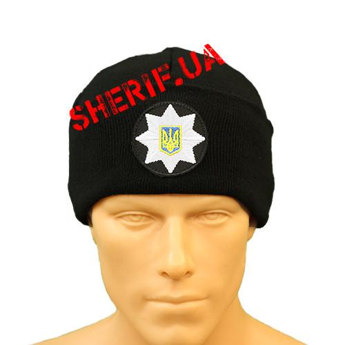 Шапка зимова Поліції з кокардою (в'язана, чорна) 12101
