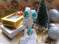 Набор серебро с золотом Жасмин с бирюзой или кабашоном, фото 1