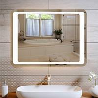 Светодиодное зеркало с подсветкой Led прямоугольное с закругленными углами 600 х 800 мм