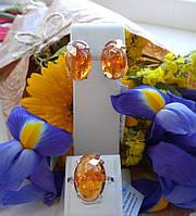 Серебряный набор с золотом и янтарем Апатит, фото 1