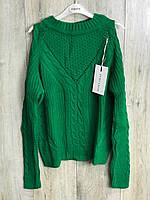 Вязаный свитер с открытыми плечами. ( Длина- 60 см). S- L Размер., фото 1