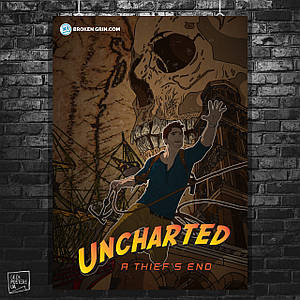 Постер Uncharted, A Thief's End. Нейтан «Нейт» Дрейк, Хлоя Фрейзер, Елена Фишер, Виктор «Салли» Салливан (60x84см)