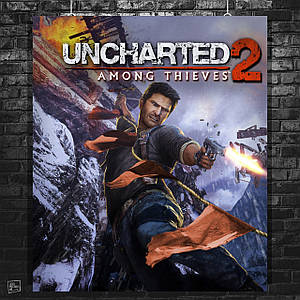 Постер Uncharted 2, Among Thieves. Нейтан «Нейт» Дрейк, Хлоя Фрейзер, Елена Фишер, Виктор «Салли» Салливан. Размер 60x51см (A2). Глянцевая бумага