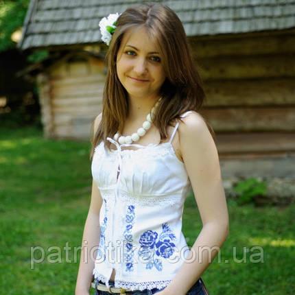 Белый вышитый корсет с молнией | Білий вишитий корсет з блискавкою, фото 2