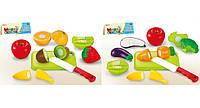 Овощи и фрукты 666-17/19 (240шт/2) 2вида,делятся пополам,с досточкой,ножом,в пак.