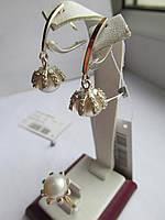 Набор серебряный Твист с золотом и жемчугом, фото 1