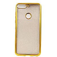 Чехол накладка для Huawei Honor 7C PRO LND-L29 силиконовый, Remax Case GLITTER, Золотистый