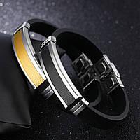 Каучуковый браслет со стальной вставкой - два цвета, фото 1