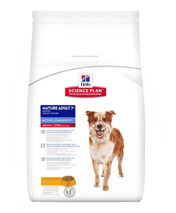 Hill's Science Plan Mature Adult 7+ Active Longevity корм для собак средних пород с курицей 12 кг