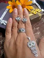 Набор серебряный с цирконием Филин/Сова, фото 1