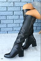 Чоботи зимові шкіряні чорні на широку ногу, фото 1