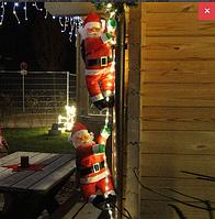 Декоративный Санта Клаус на лестнице с подсветкой LED (Дед Мороз на лестнице): лестница 70 см, фигурка 25 см