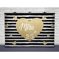 Именной баннер День рождения-22  с люверсами, карманами (цельная баннерная ткань)