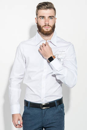 Рубашка мужская с нашивкой на груди 50PD0011 (Белый), фото 2