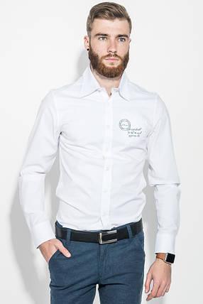 Рубашка мужская однотонная, с декором на груди 50PD0011-1 (Белый), фото 2
