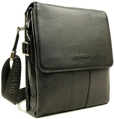 Мужская кожаная сумка-планшет на плечо Тоfionno 05013-3 черная