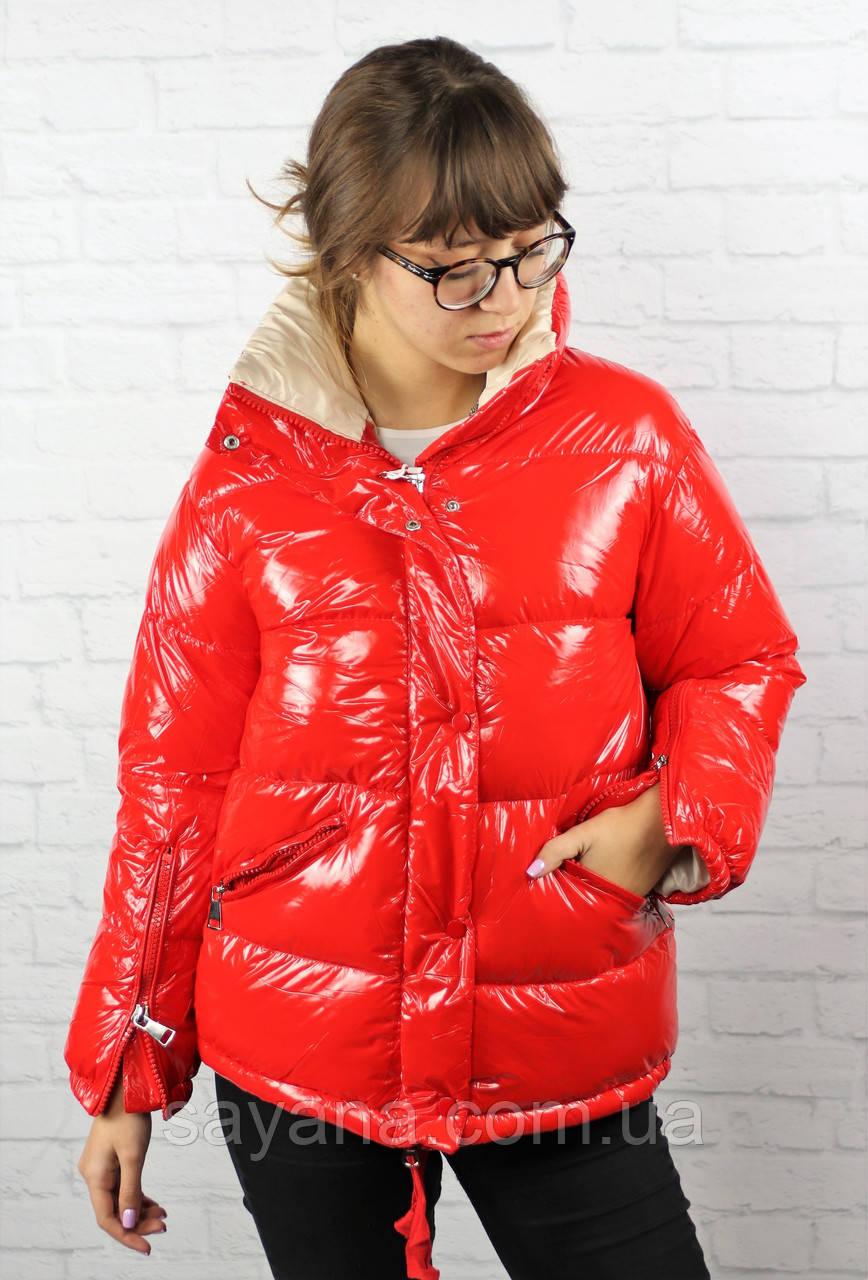 Женская куртка с капюшоном и молнией по рукаву в расцветках. БР-6-1118
