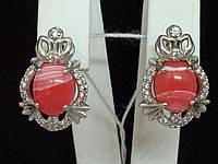 Серебряные серьги Любаша с кораллом и фианитами. Артикул 2361/9Р-GORL, фото 1