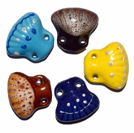 Аромамедальон / Аромакулон, ракушка, керамический, на кожаном шнурке