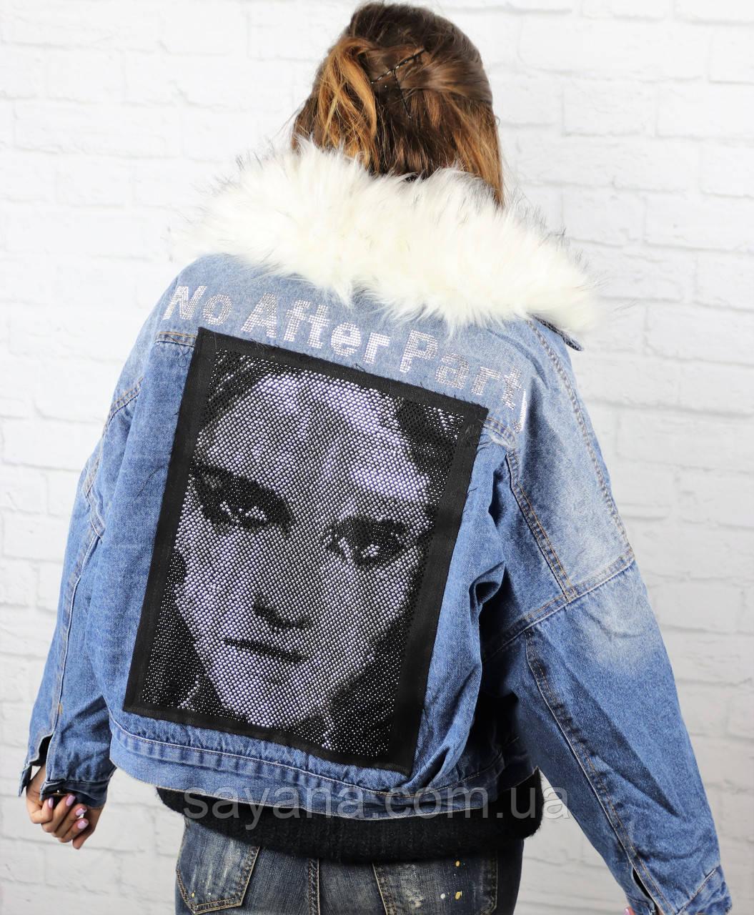 Женская джинсовка на меху с нашивкой по спинке в расцветках. БР-8-1118