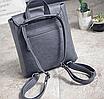 Рюкзак трансформер женский кожзам сумка Cool Черный, фото 8