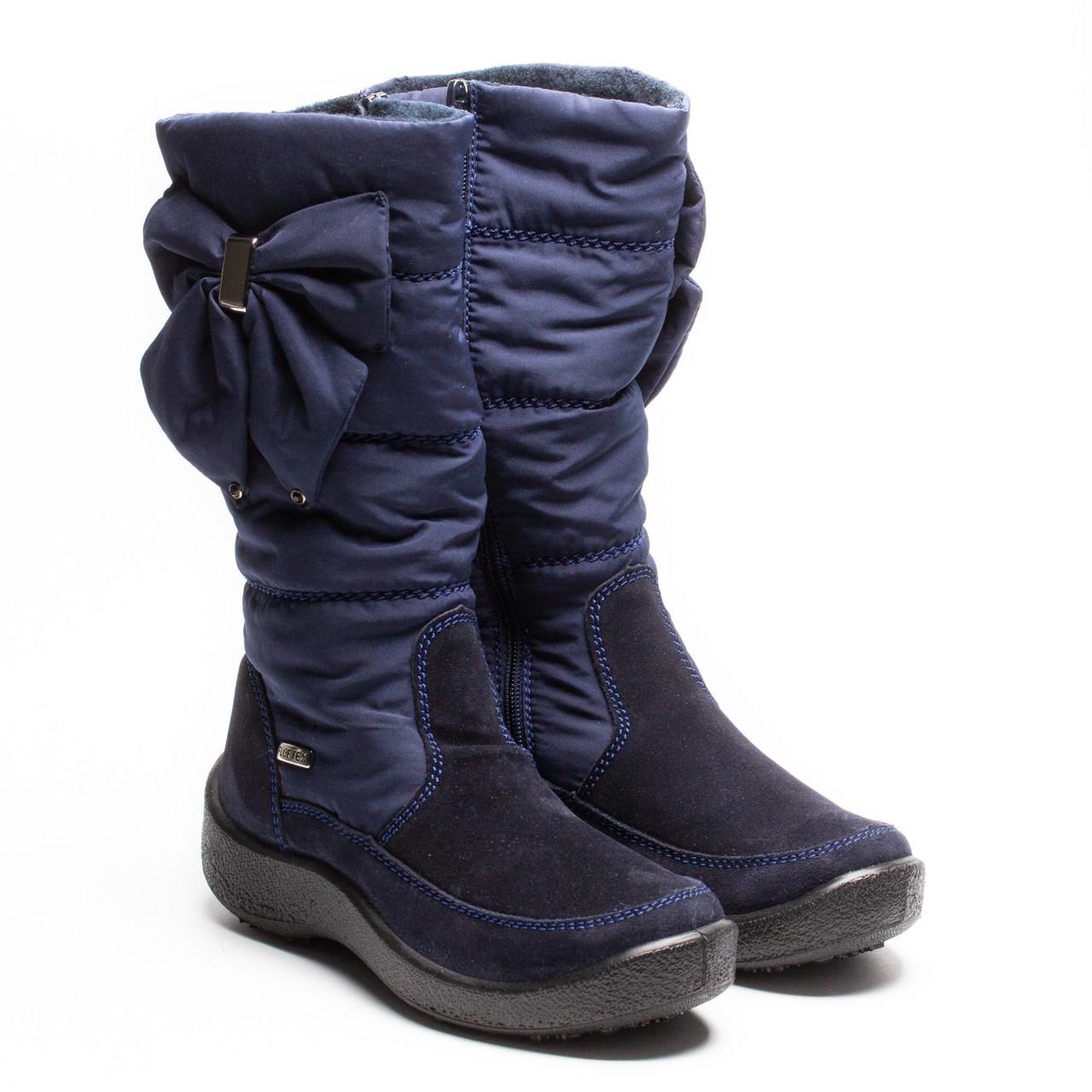 Зимние мембранные сапожки Kapika, для девочки, синие с бантом, размер 33 - 37,5