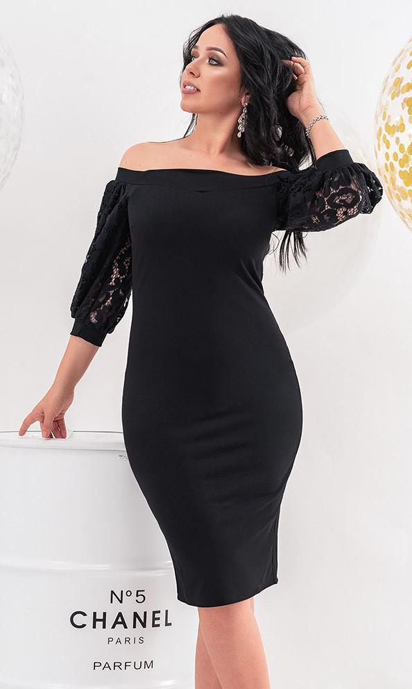 ccf49b110ac Вечернее платье черного цвета с рукавами из гипюра. Модель 19746. Размеры  48-54