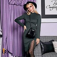 Сексуальное платье из трикотажа с кожаными вставками, фото 1