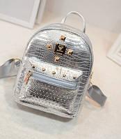 Рюкзак женский серебристый с заклепками ( код: IBR012S )
