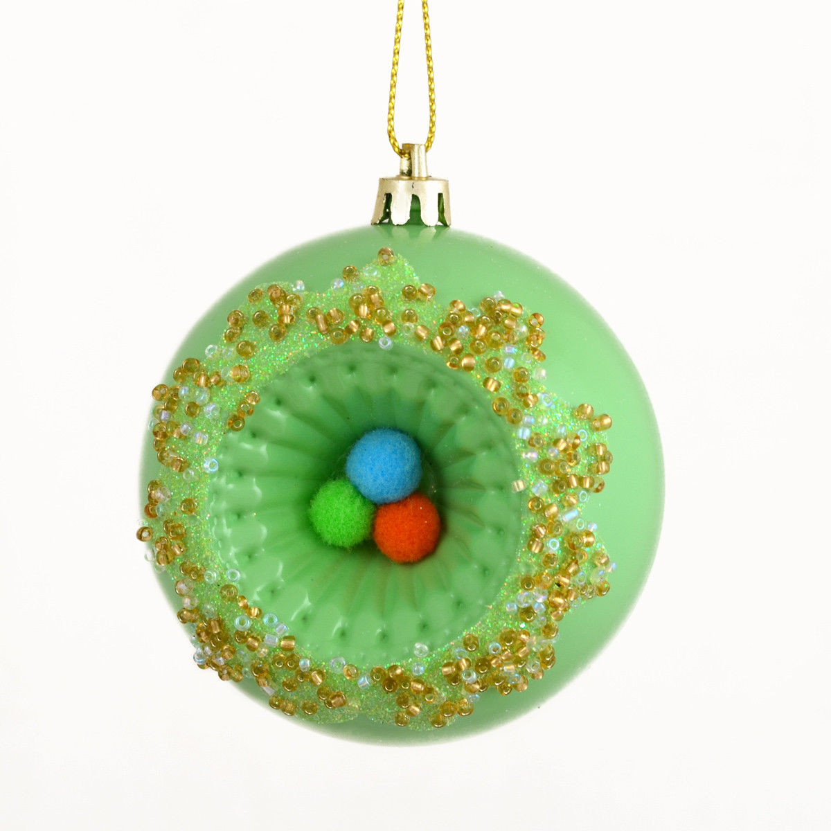 "Елочное шар ""Рыбий глаз"",зеленый d-8 см."