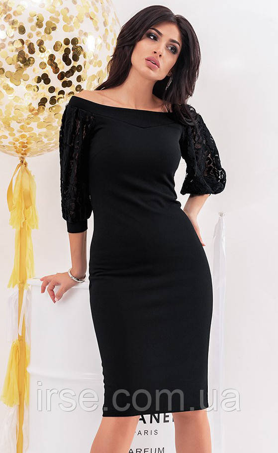 151e044c8f0 Вечернее платье черного цвета с рукавами из гипюра. Модель 19753. Размеры  42-46