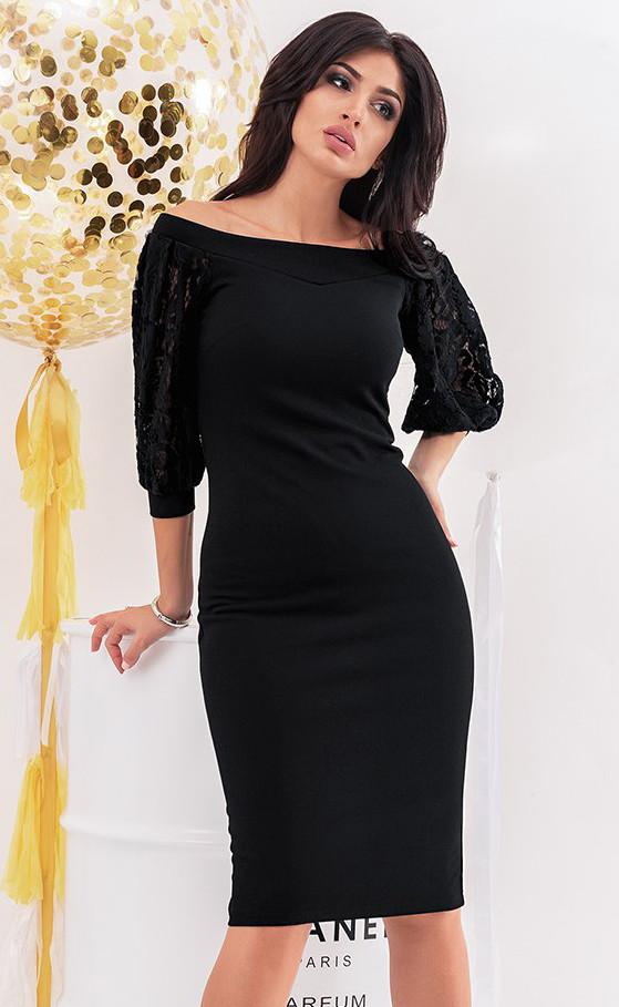 57d676ff5dc Вечернее платье черного цвета с рукавами из гипюра. Модель 19753. Размеры  42-46
