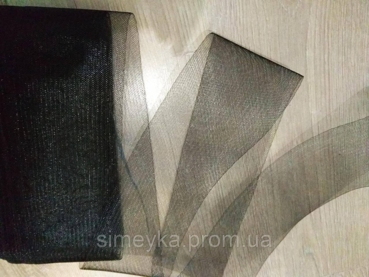 Регилін м'який (кренолін) плаский, ширина 10 см, моток 23 м. Чорний