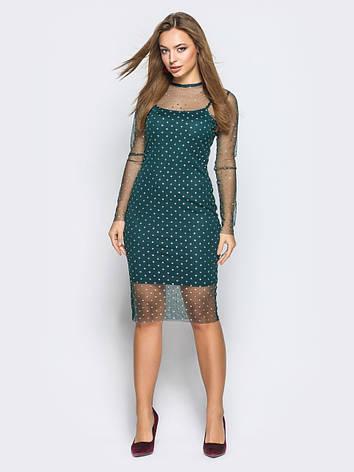 cfa521ae6c1 Коктейльне плаття приталеного крою з фатіну в горошок зелений розмір 44 46  48