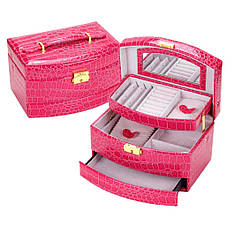 Шкатулка - автомат для украшений розово-малиновая