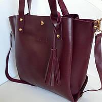 Женская сумка шоппер Zara (Зара), бордовый цвет