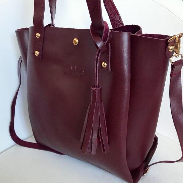 2d340f01544c Женская сумка шоппер Zara (Зара), бордовый цвет - Интернет-магазин