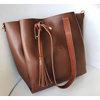 Женская сумка шоппер Zara (Зара), рыжий цвет