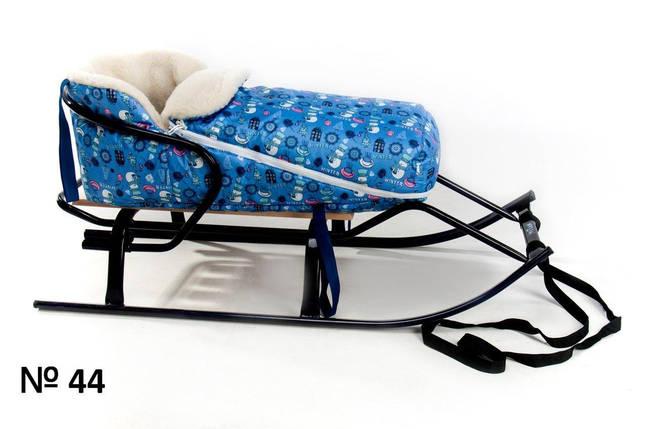 Меховой голубой конверт для санок и колясок Снеговик для мальчика, фото 2