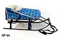Меховой голубой конверт для санок и колясок Снеговик для мальчика