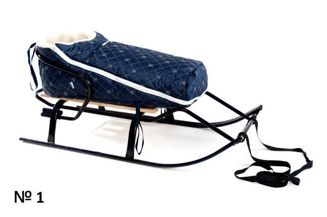 Меховой конверт темно-синего цвета для санок и колясок стеганый в снежинку, фото 2