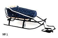 Меховой конверт темно-синего цвета для санок и колясок стеганый в снежинку