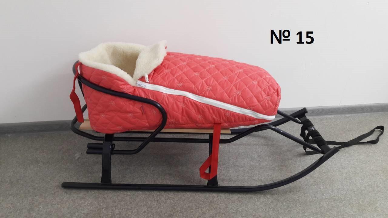 Меховой коралловый стеганый в снежинку конверт для санок и колясок для девочек