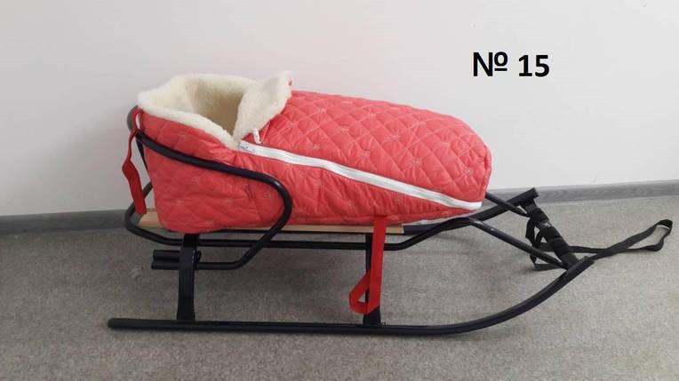 Меховой коралловый стеганый в снежинку конверт для санок и колясок для девочек, фото 2