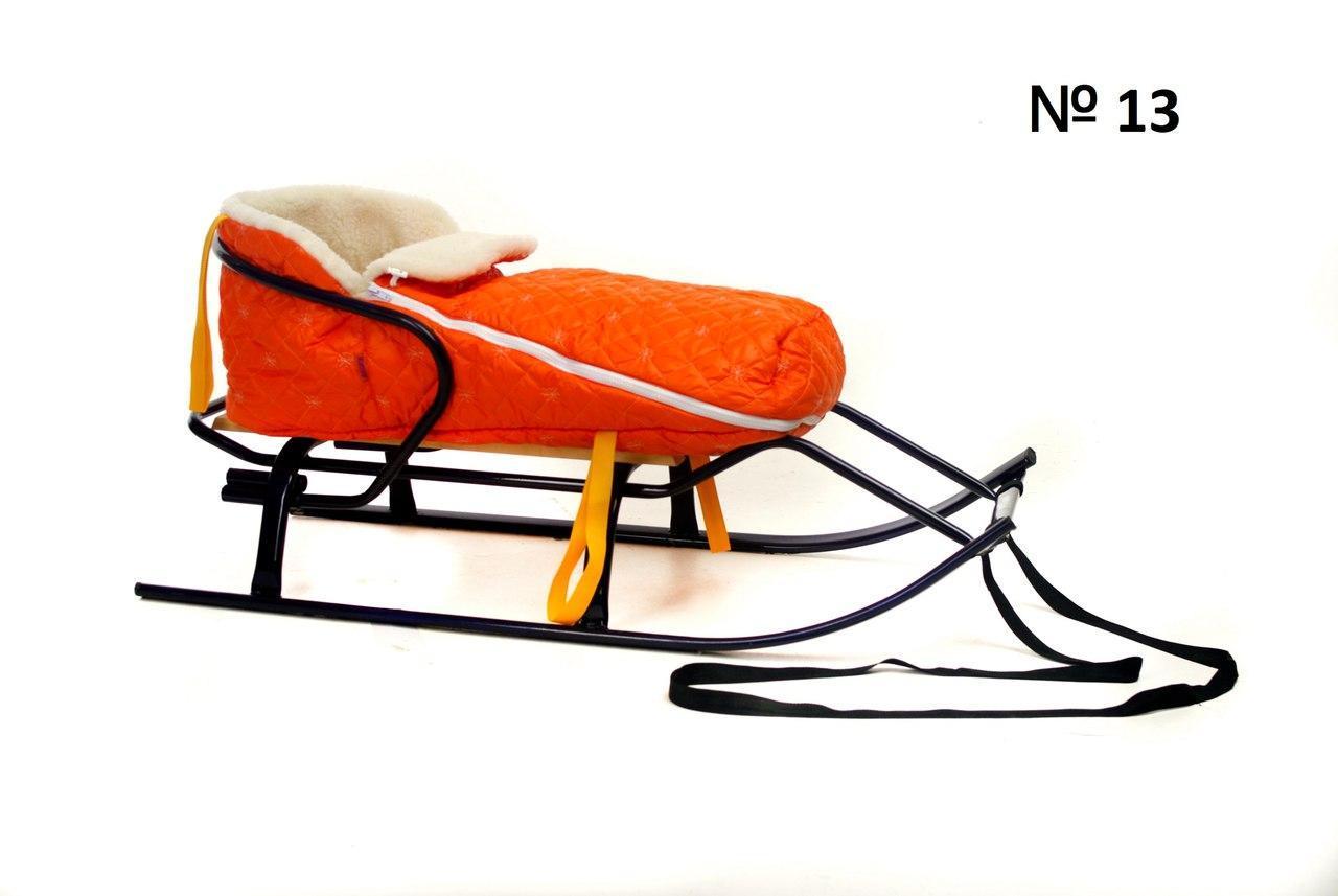 Меховой стеганый оранжевый конверт для санок и колясок в снежинку