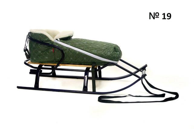 Меховой стеганый оливковый конверт для санок и колясок в снежинку, фото 2