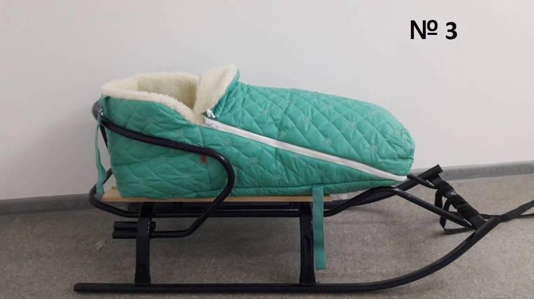 Меховой стеганый конверт для санок и колясок в снежинку мятного цвета, фото 2