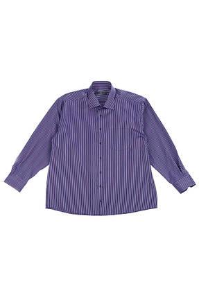 Рубашка мужская (батал) в мелкую полоску, с длинным рукавом 50PD21447-1 (Фиолетово-сиреневый), фото 2